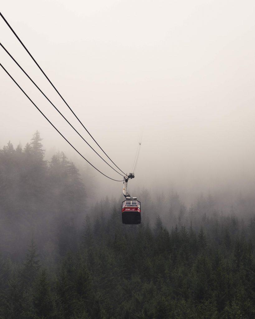 image of single gondola over fog
