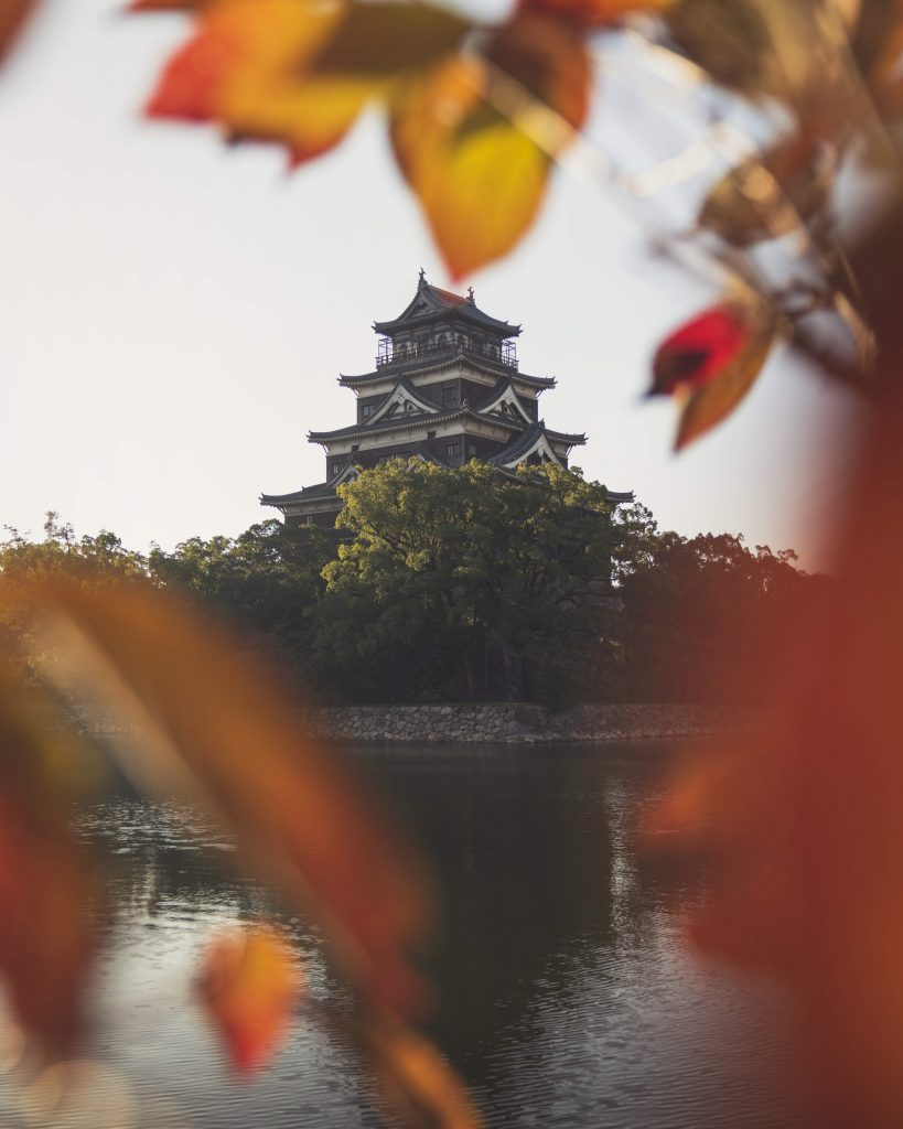 image of hiroshima castle framed by leaves