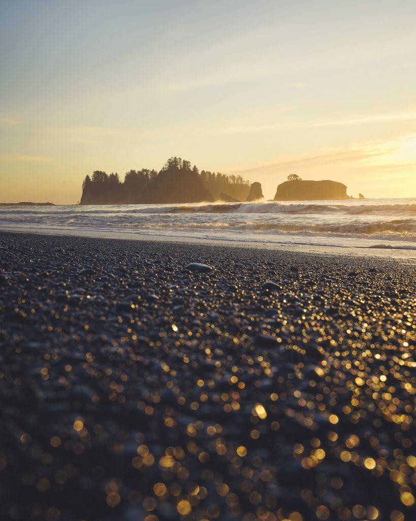 image of islands at rialto beach at sunset