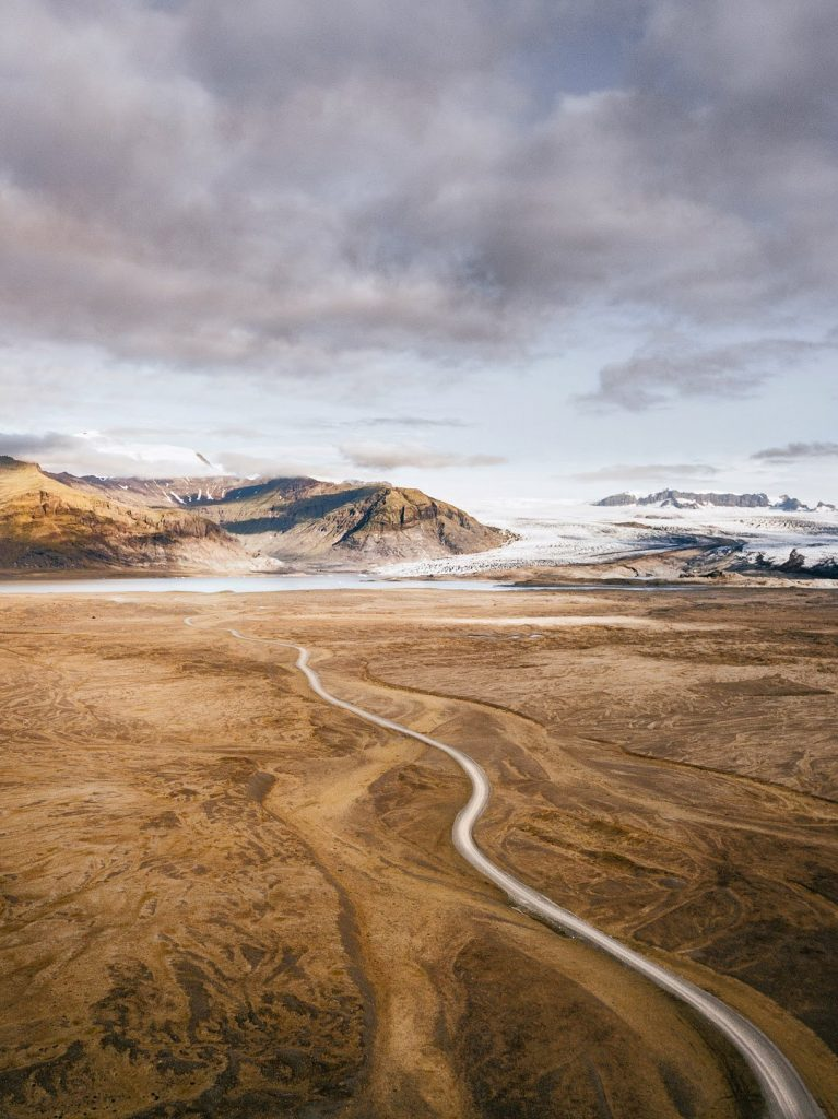 image of road in barren land in iceland
