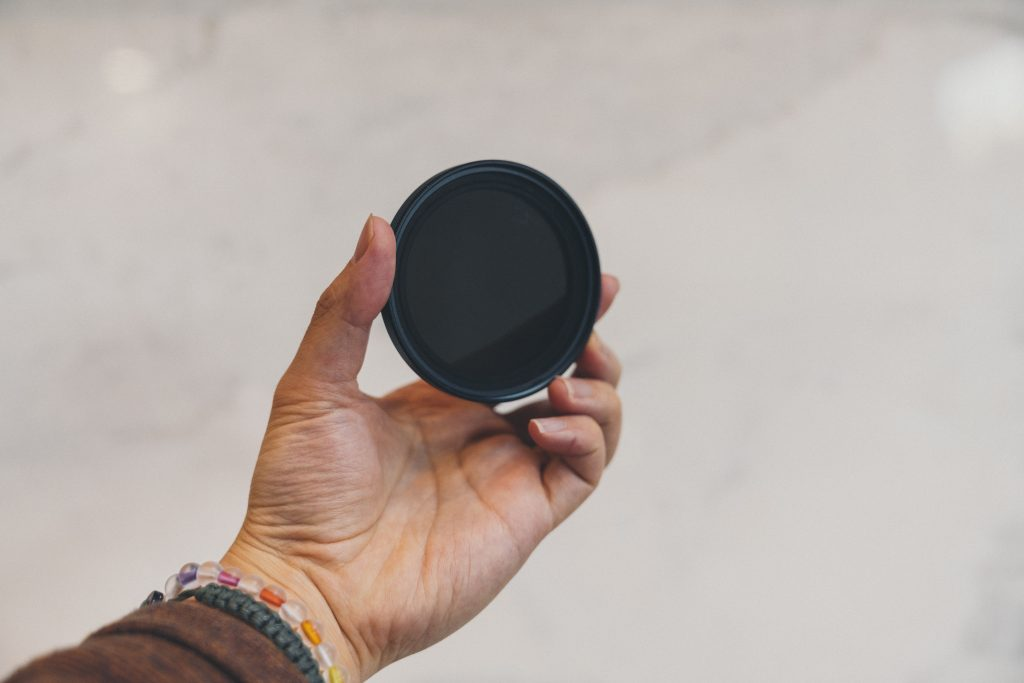 photo of s single nd filter in front of white wall