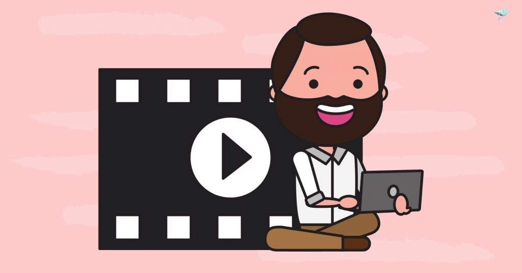 illustration of a person on computer editing video
