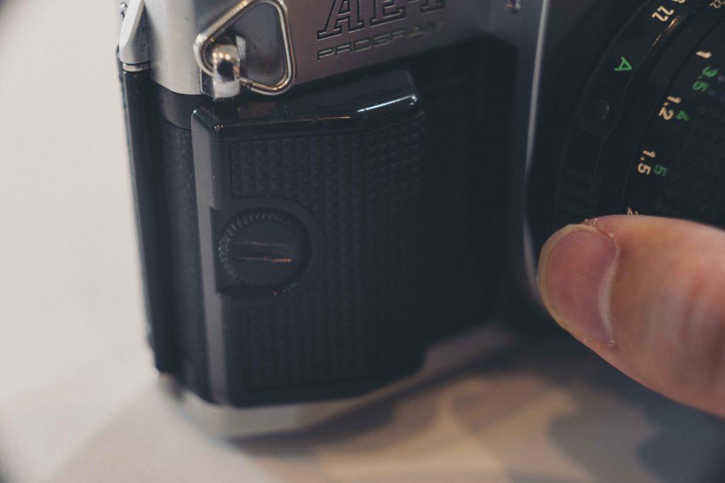up close image of camera grip