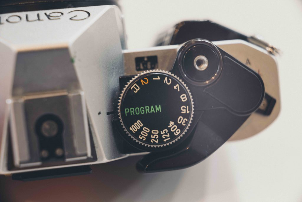 up close image of camera dial