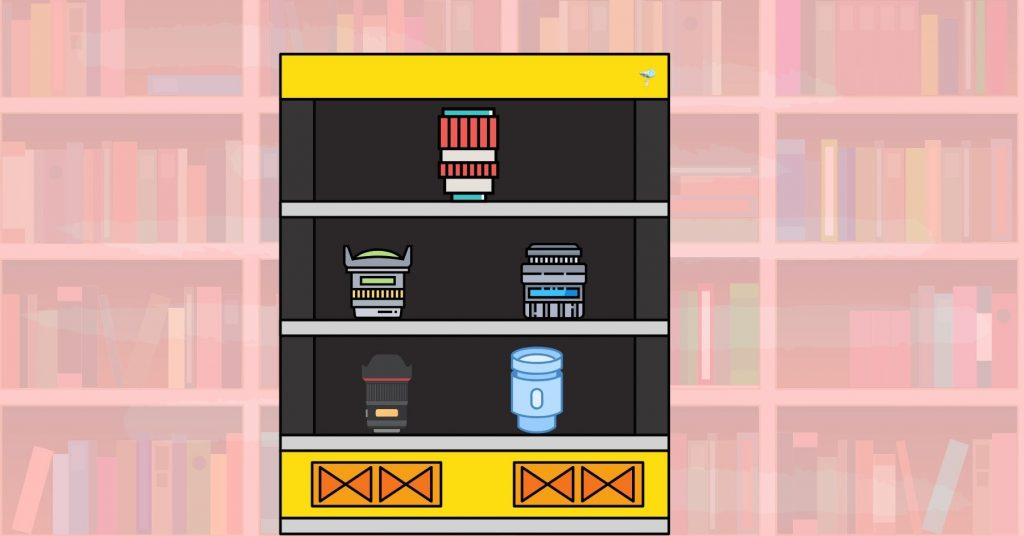 illustration of different lenses on a yellow shelf