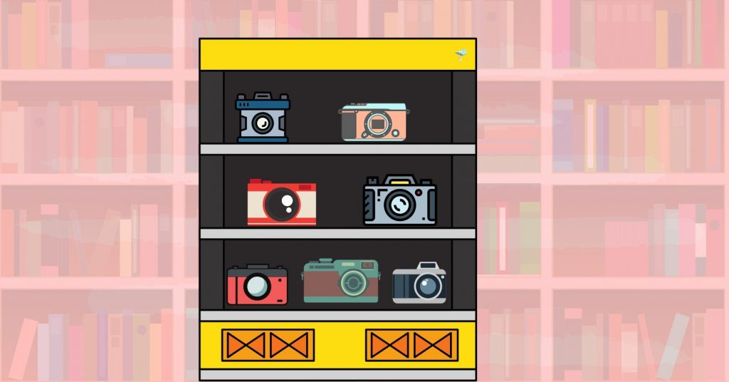 illustration of cameras on a shelf