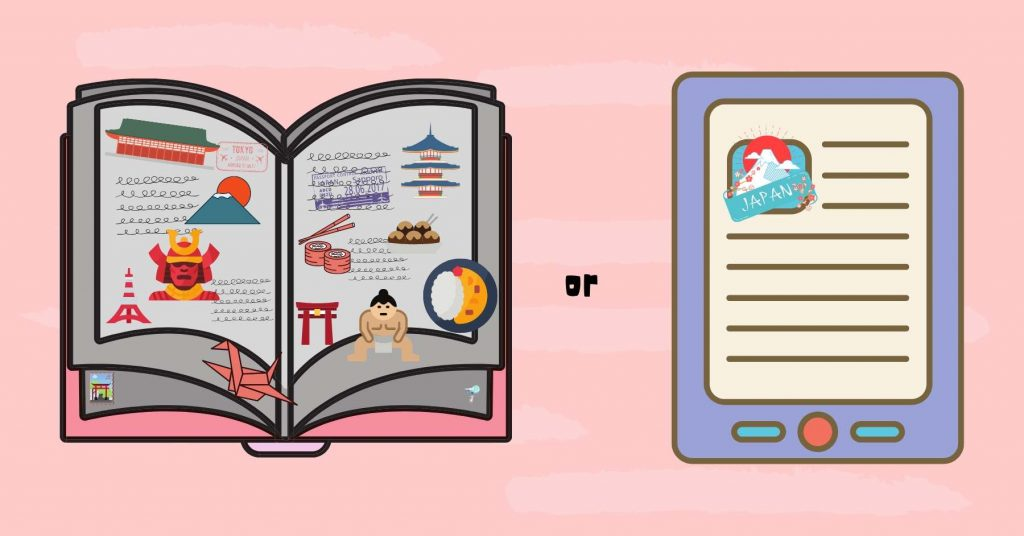 illustration of a physical guidebook vs ebook