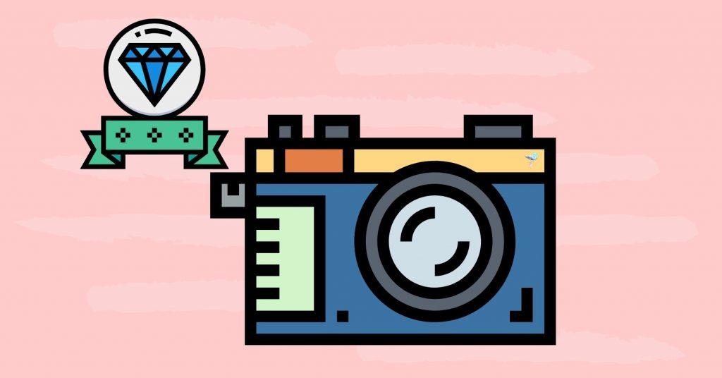 illustration of a camera with a premium designation