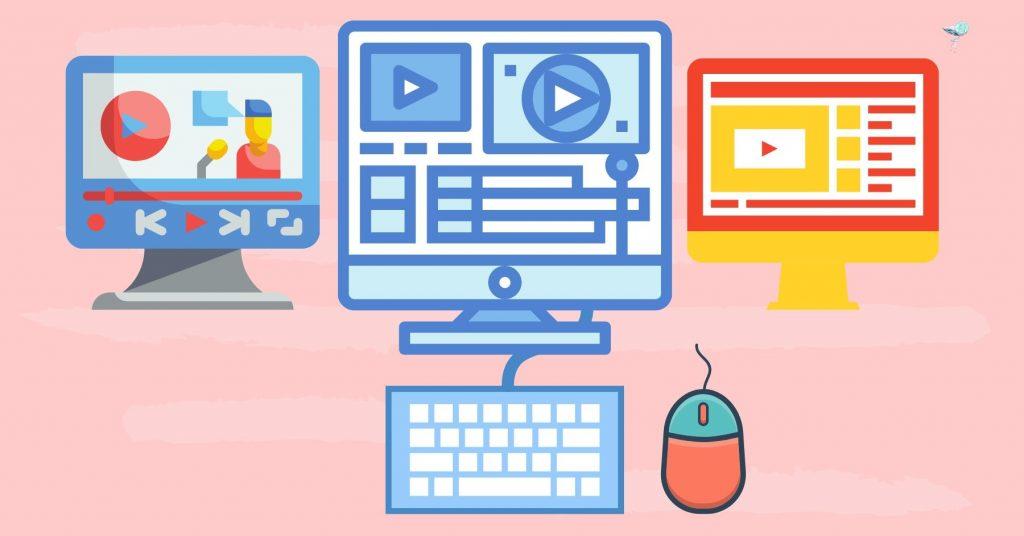 illustration of a desktop video editing set up