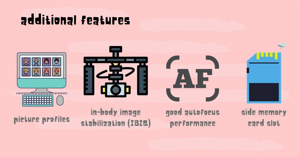 illustration depicting the different features you should look for in a filmmaking camera