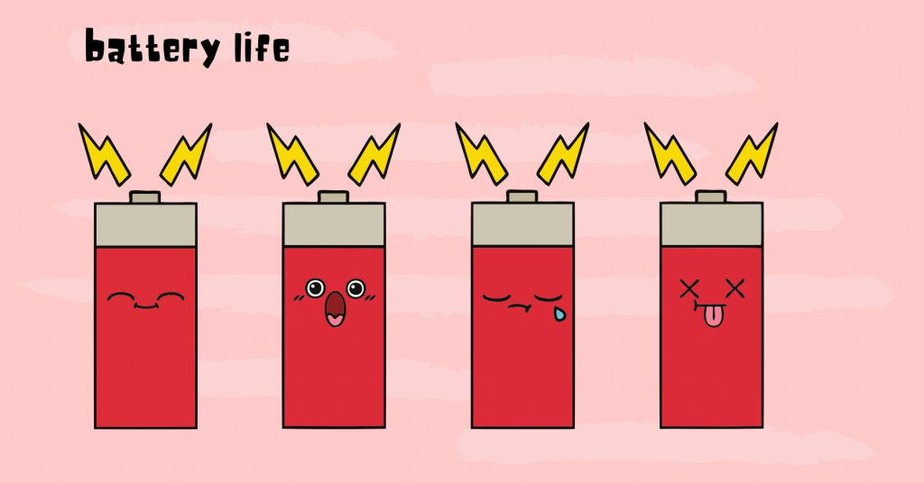 illustration showing cartoon batteries with different expressions. Goes from happy to sad, left to right.