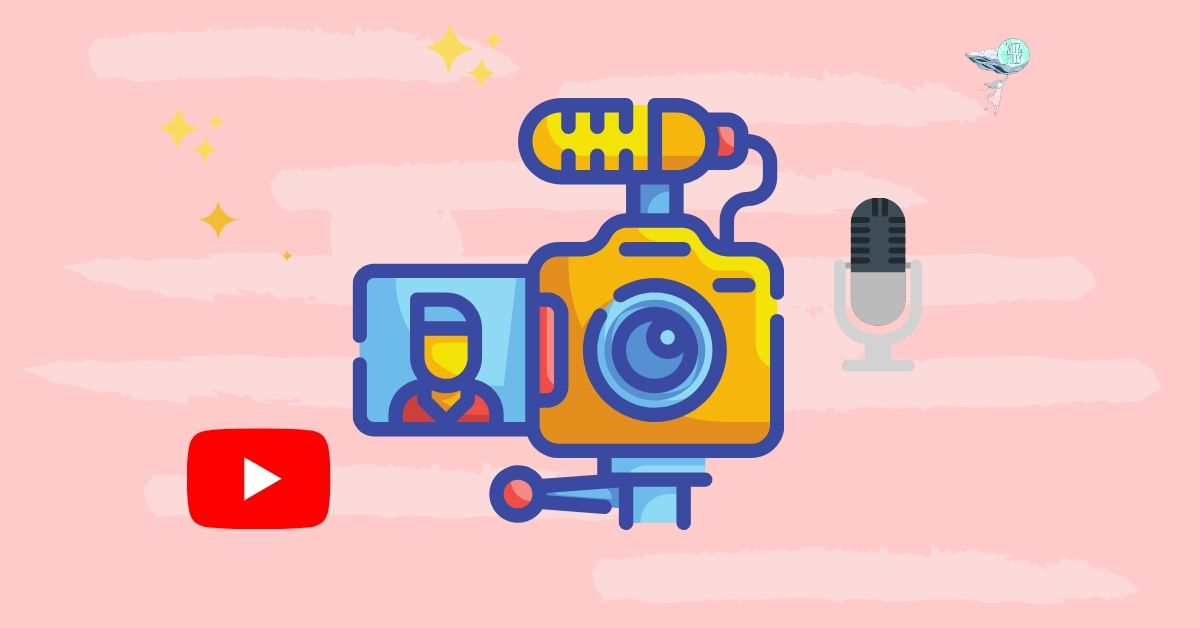 illustration of a vlogging camera with youtube logo and mic