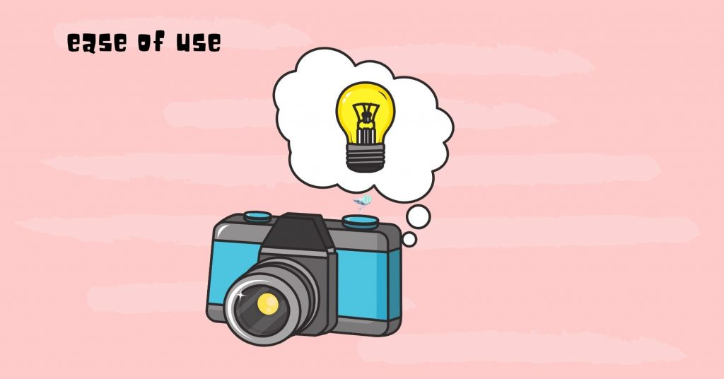 illustration showing a camera with a thought bubble with a light bulb in the thought bubble