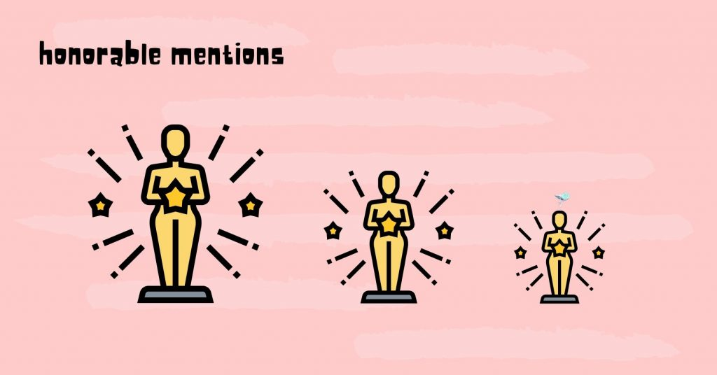 illustration with three different awards of different sizes