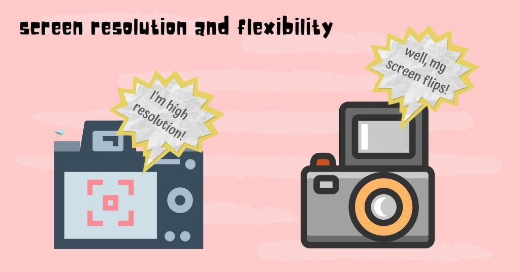"illustration of two different cameras. one camera has a speech bubble which says ""i'm high resolution"". other camera with speech bubble saying ""well, my screen flips"""