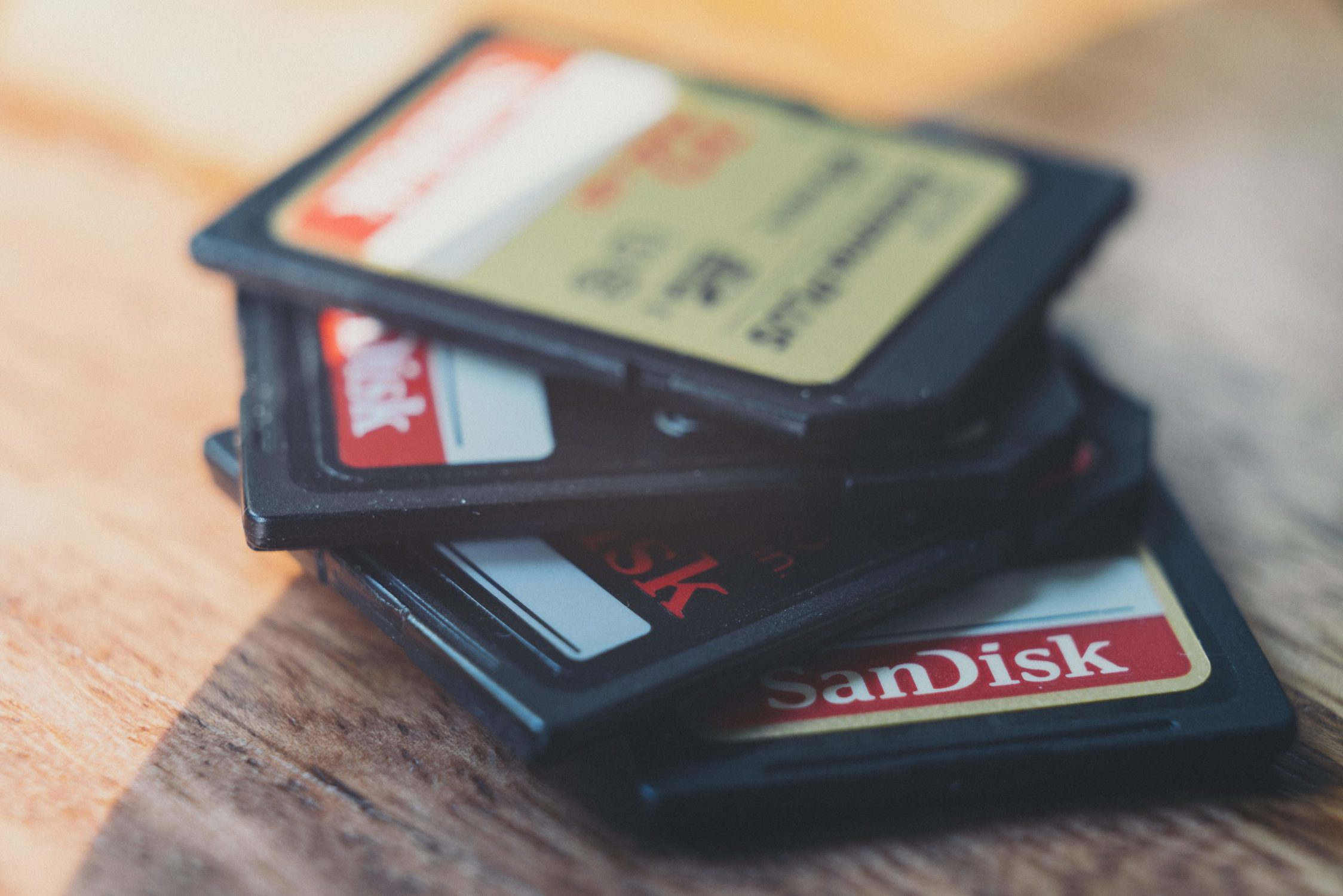 image of stack of sandisk sd cards