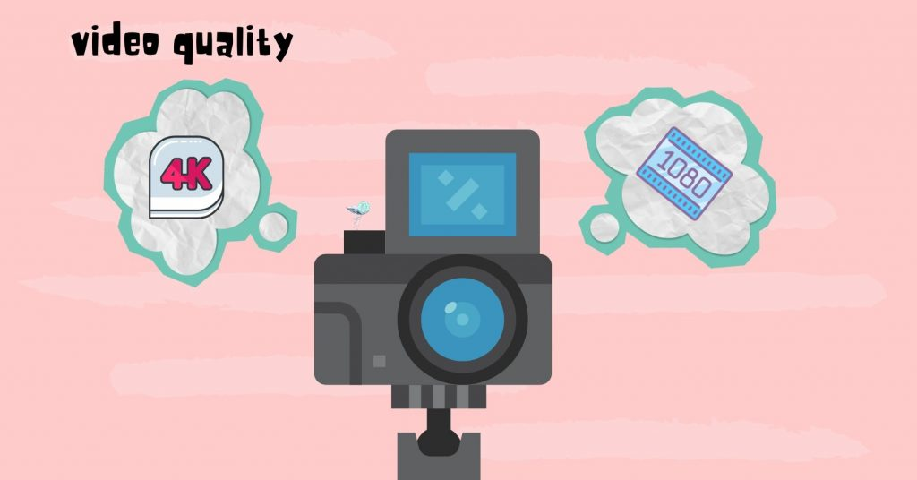 illustration of a camera with a thought bubble for 4k and another thought bubble for 1080p resolution