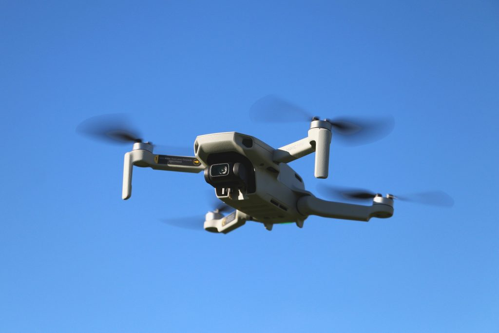 image of a drone against a blue sky