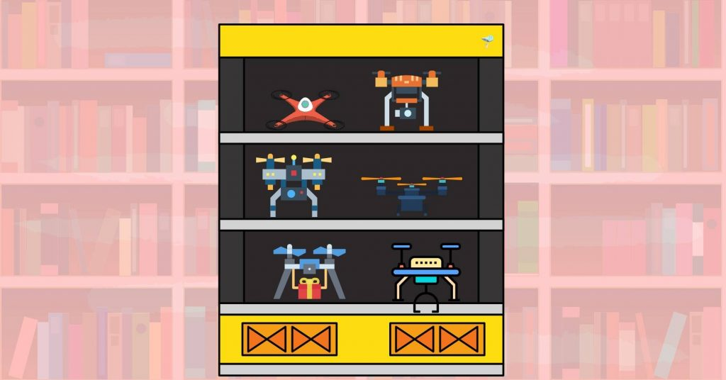 illustration of drones on a shelf