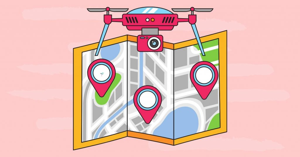 illustration of a drone with gps with different gps points on a map