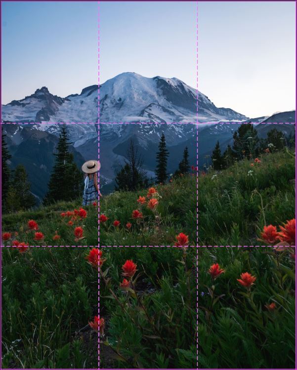 image of girl near red wildflowers overlooking mount rainier