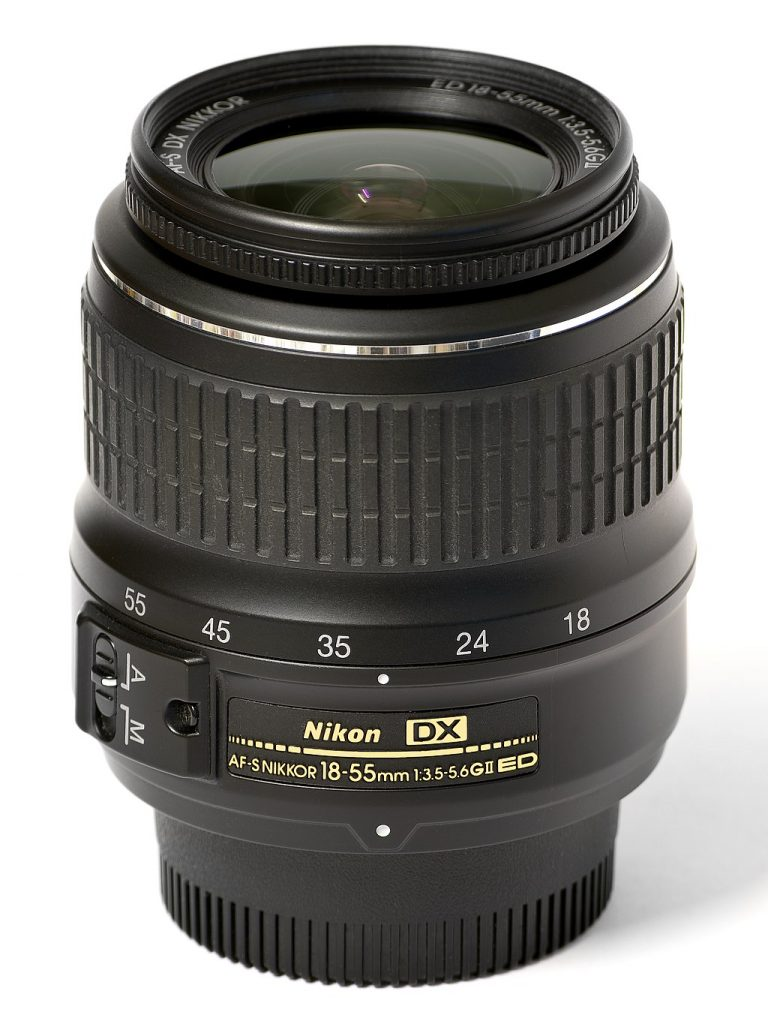 image of nikon 18-55 against a white background