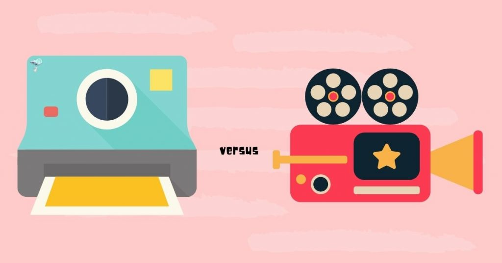 illustration of a photo camera versus film camera