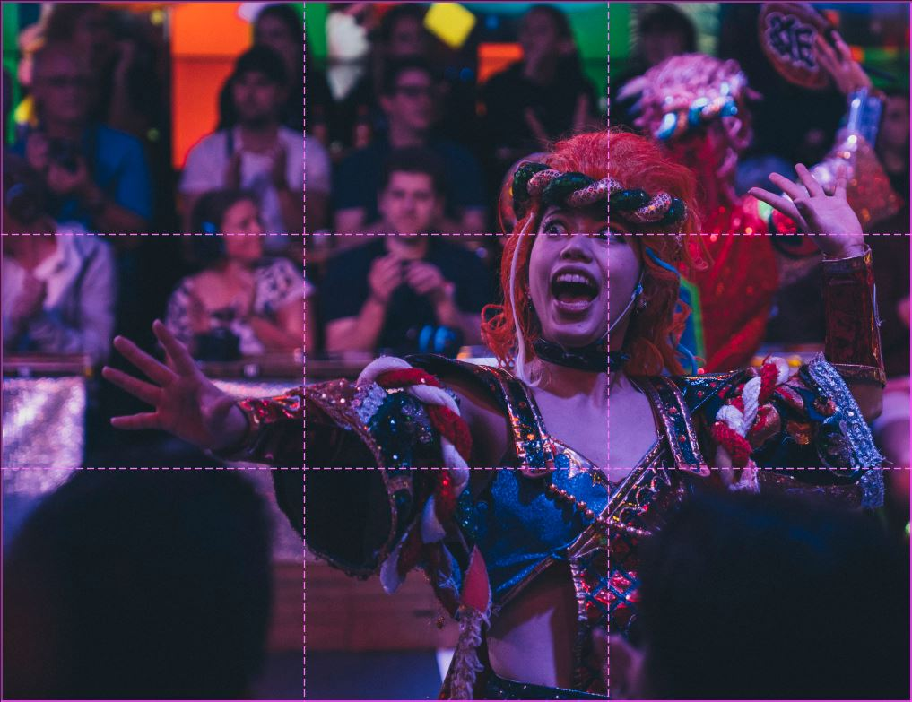 image of a performer at the robot show in tokyo with a rule of thirds grid overlayed