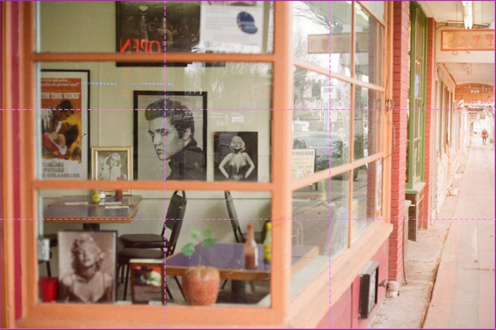 image of elvis photo in store window with rule of third lines overlayed