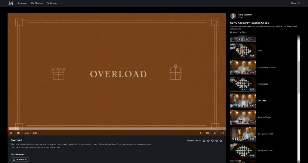 screen shot of title screen for chapter 10 kasparov masterclass