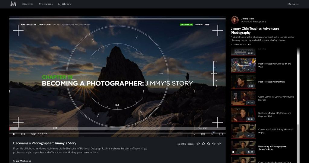 screen shot of chapter 19 in the jimmy chin masterclass