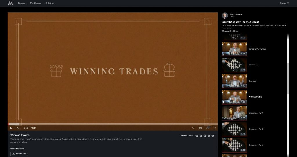 screen shot of title screen for chapter 11 kasparov masterclass