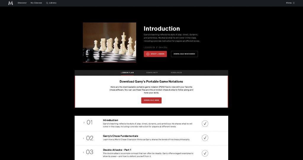 screenshot of course listing for kasparov masterclass