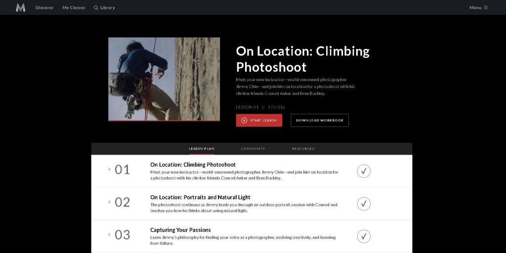 screenshot of the summary page of the jimmy chin masterclass
