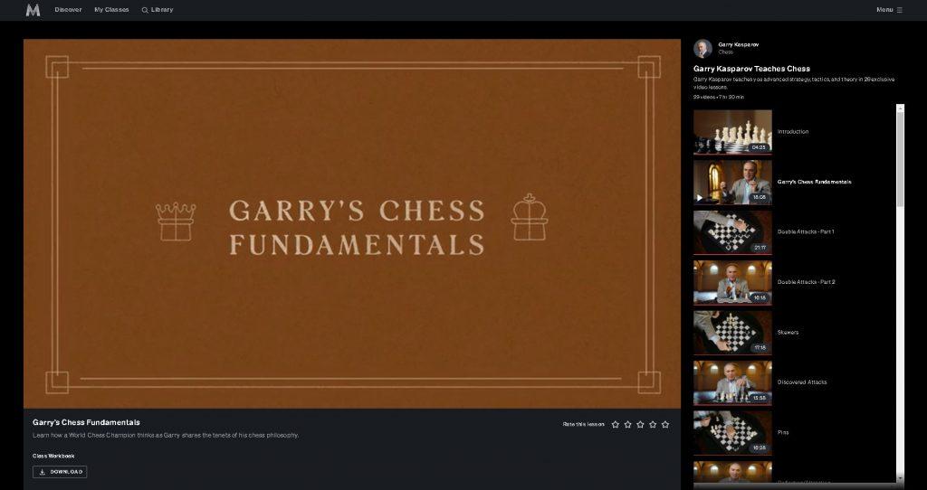 screenshot of title screen for chapter 2 kasparov masterclass