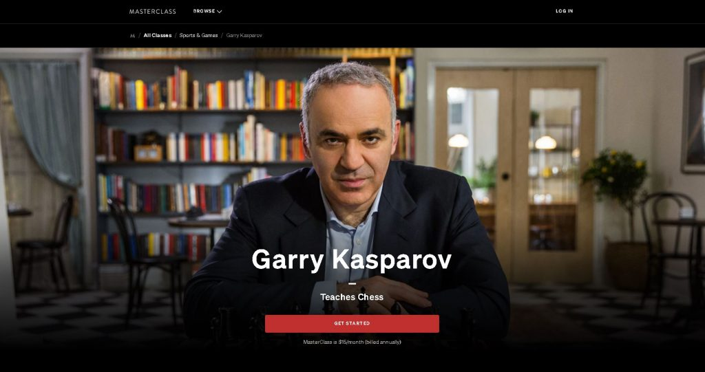 screenshot of masterclass by garry kasparov