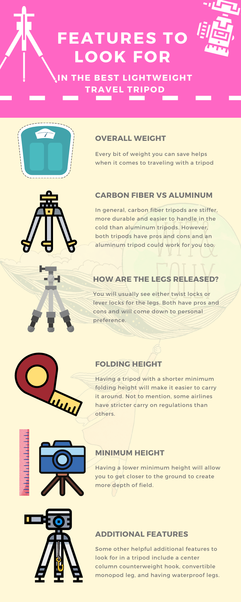 infographic showing the different features to look for in a lightweight travel tripod