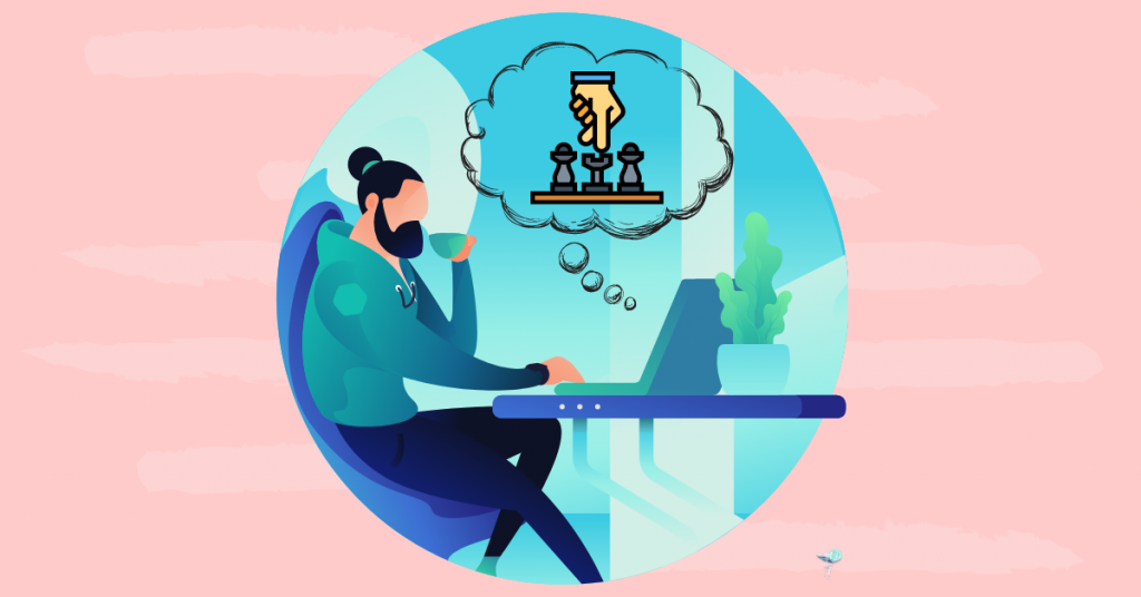 illustration of person taking online chess course