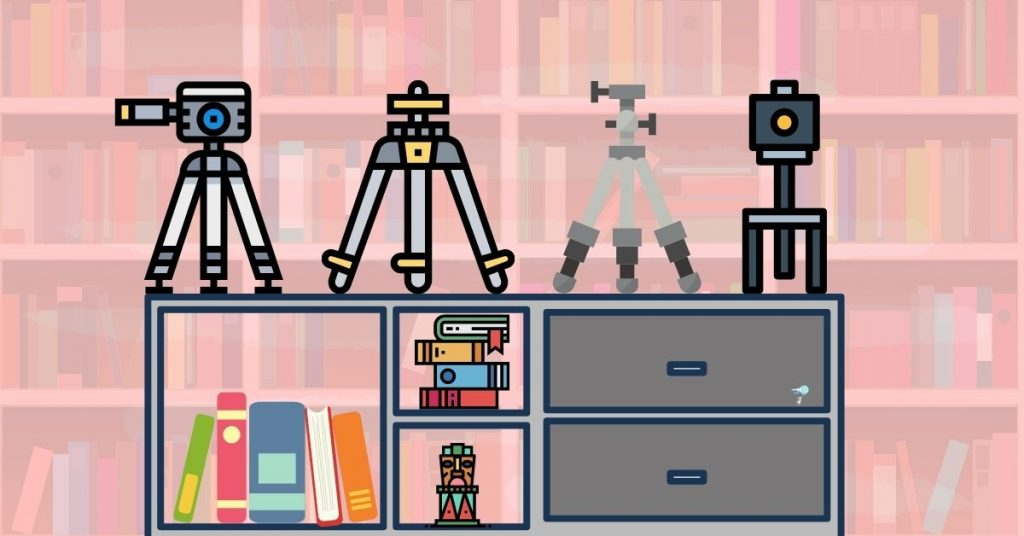 illustration of 4 different tripods on a bookshelf