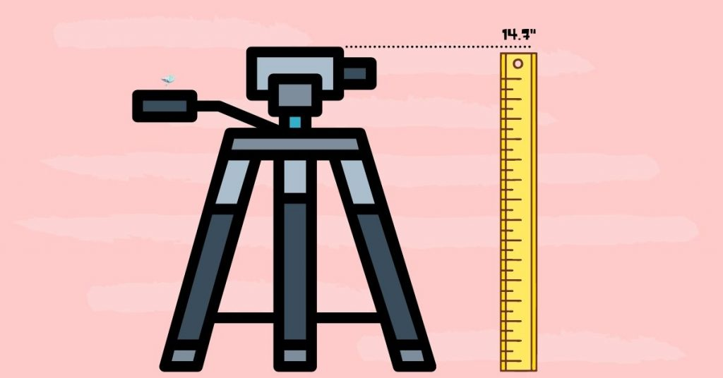 illustration of the folding height of a tripod