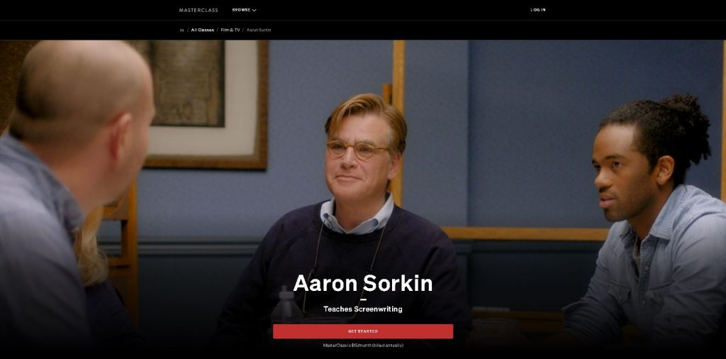 image of the front page for aaron sorkin masterclass