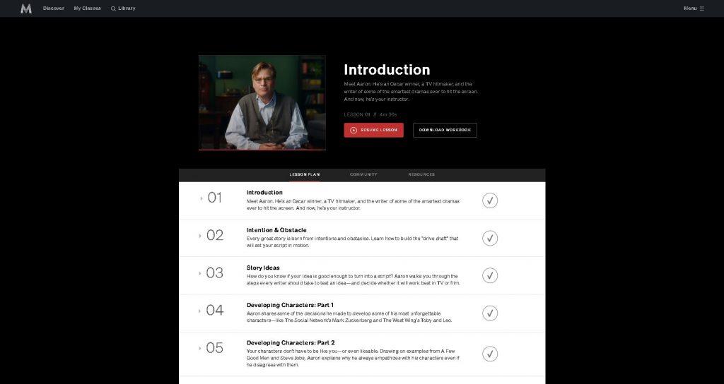 image of class syllabus for aaron sorkin masterclass