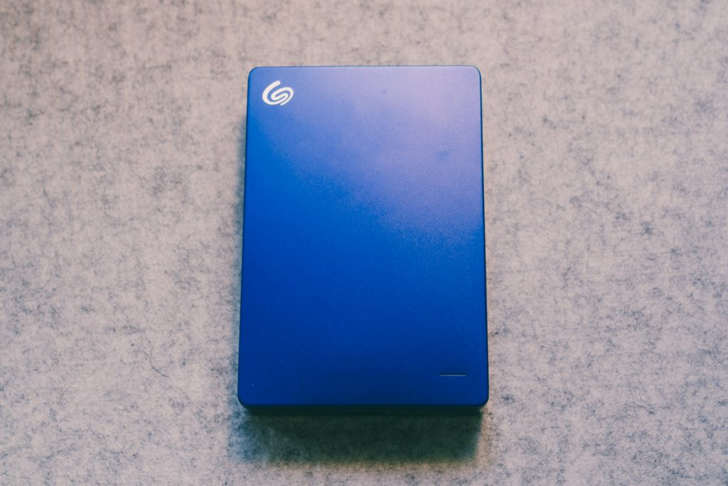 image of blue seagate hard drive