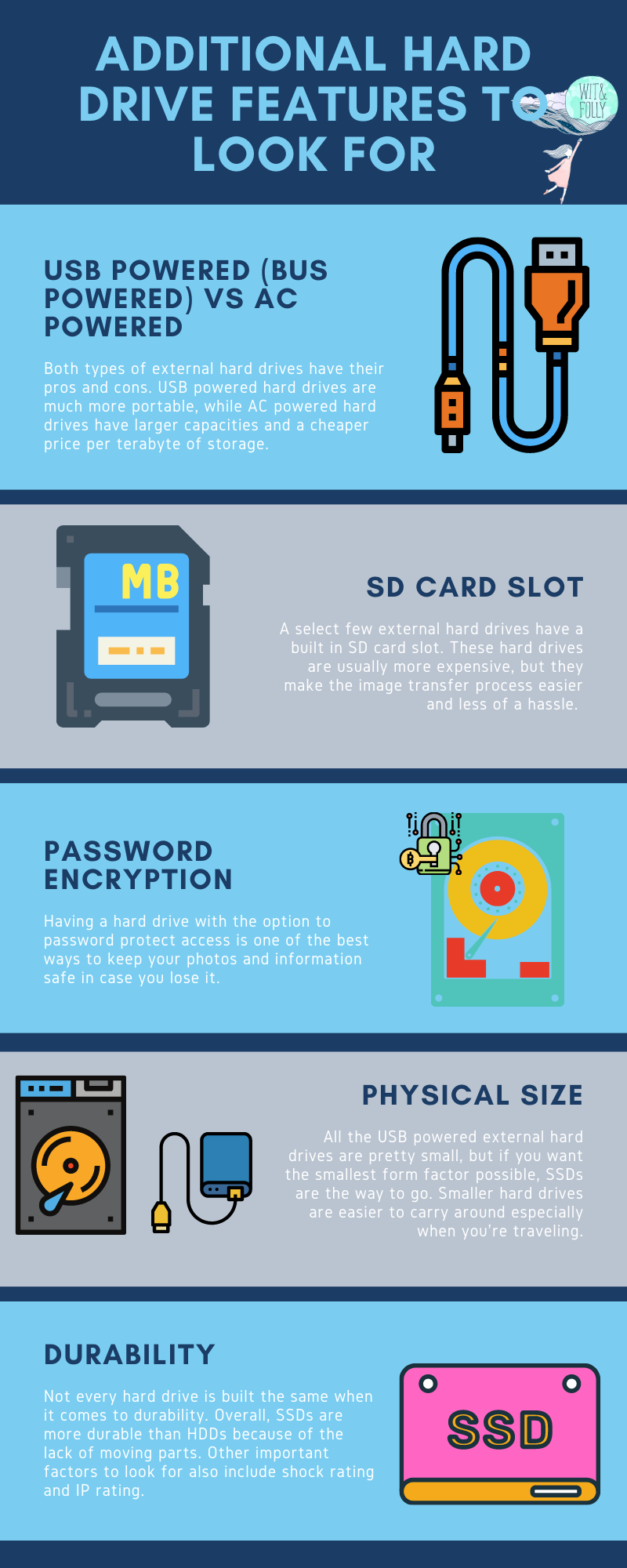 infographic of other hard drive features to look for