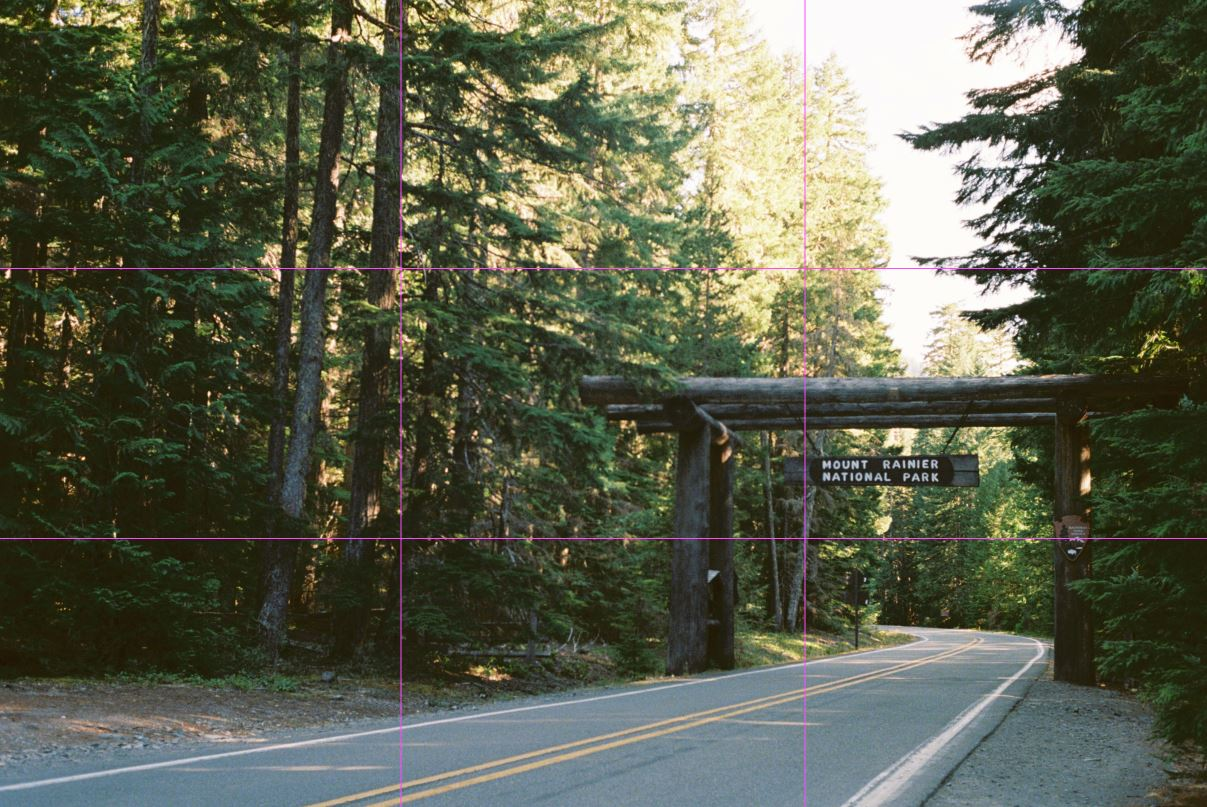 image of entrance to mount rainier national park with rule of third grid line