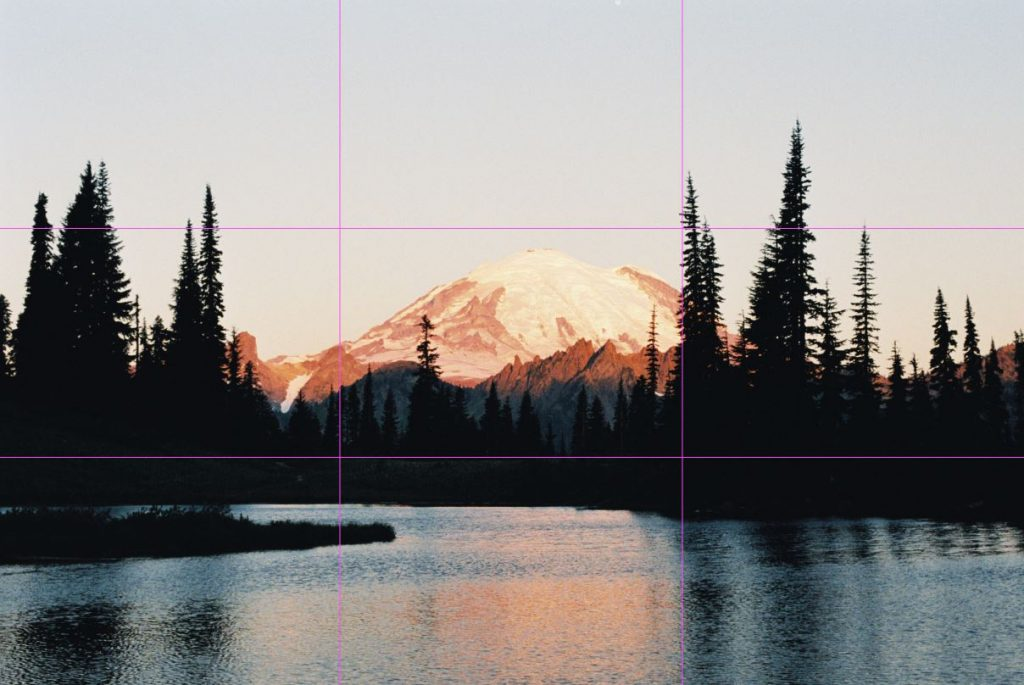 image of mount rainier and lake with rule of third gridlines