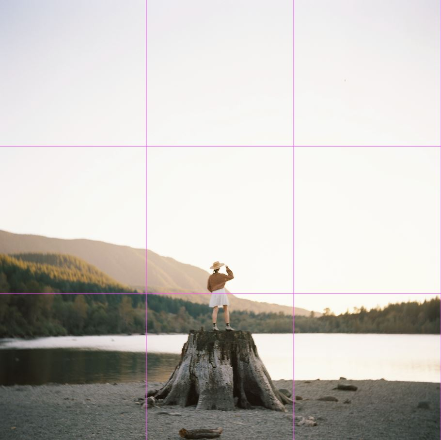 image of girl standing on tree stump with rule of third grid lines