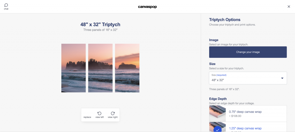 options for triptych print on canvaspop
