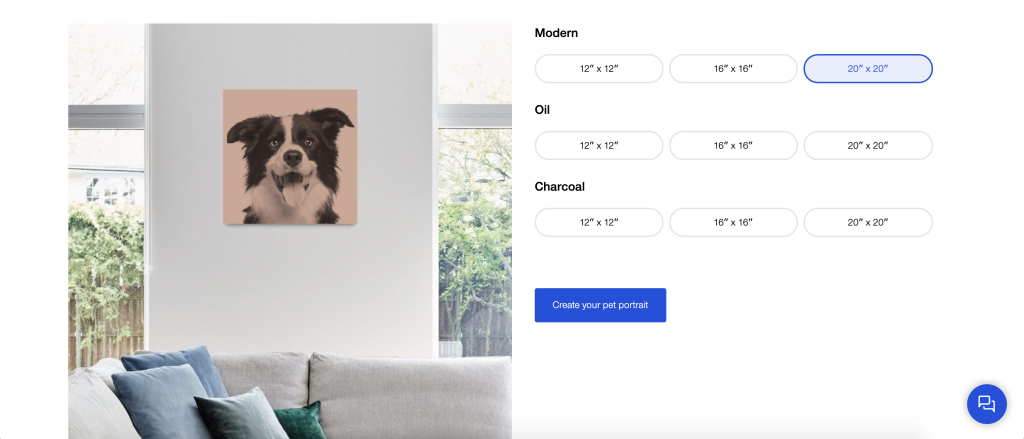 pet portrait options in canvaspop