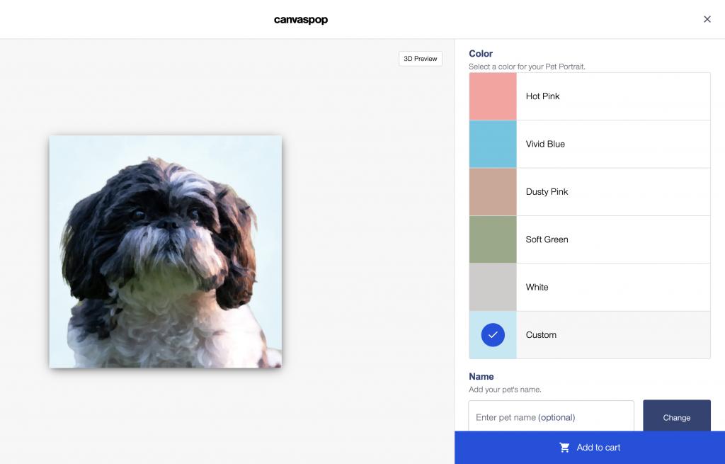 different pet portrait colors canvaspop